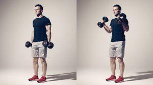 Construye tus bíceps con rizos de mancuerna