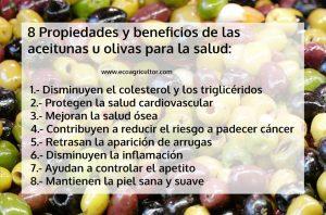Información nutricional y beneficios para la salud de las aceitunas