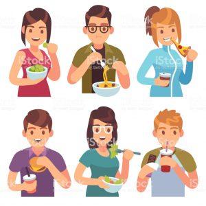 Las cenas de los hombres hambrientos más y menos saludables